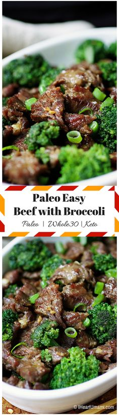 Paleo/Whole30/Keto beef with broccoli ! Savory juicy beef pan-fried with crunchy broccoli in homemade savory sauce with no added sugar. Get full recipe at IHeartUmami.com