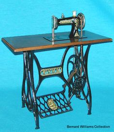 This delightful miniature chainstitch was produced by the Wertheim Company. The firm is better known for its domestic models, which were produced in Germany and Spain. The treadle is too small, even for a child, therefore its original intended use remains something of a mystery.