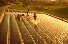 Victoria Park Public Domain by HASSELL;  Most successful public spaces incorporate interactive water elements