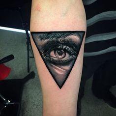 Amazing Triangle Eye Tattoo On Forearm