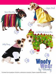 DOG HALLOWEEN Costume Sewing Pattern - Woofy Wear Dogs Dinosaur Pirate Super Dog Costumes