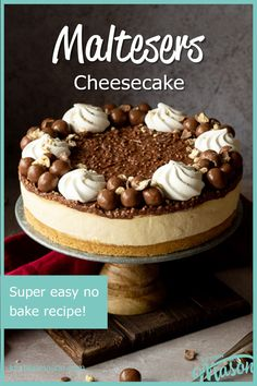 This glorious no bake Malteser cheesecake recipe yields a dessert of epic proportions! It's light, creamy, tastes exactly like Maltesers and guaranteed to please your friends and family! Click for the easy step by step picture recipe, plenty of helpful tips and your FREE e-cookbook! Malteser Cheesecake Recipe, Instant Pot Cheesecake Recipe, Easy No Bake Cheesecake, Baked Cheesecake Recipe, Homemade Cheesecake, Malteser Recipes, Easy Ice Cream Recipe, Ice Cream Recipes, Easy Baking Recipes