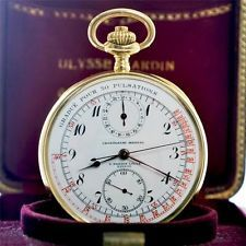 AUTHENTIC ULYSSE NARDIN MEDICAL CHRONOGRAPH 18K SOLID GOLD POCKET WATCH W/ BOX