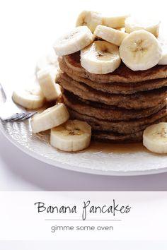 Banana Pancakes | Gimme Some Oven (used 1 banana, 1/2 c applesauce, white wheat flour, added ~ 1tsp vanilla)
