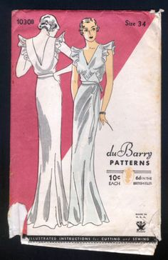 1930 Du Barry Pattern Ladies' Nightgown with Ruffled Shoulders   eBay