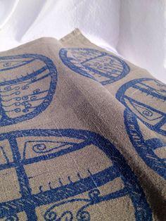 50s hand printed modern linen table cloths. Set of two. Made in Sweden, scandinavian design.