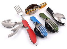 10 PCS 4 In 1 Flatware Multifunction Portable Detachable Type Folding Camping Combination Knife And Fork Spoon Stainless Outdoor Steel Tableware -- Click image to review more details.(This is an Amazon affiliate link and I receive a commission for the sales)