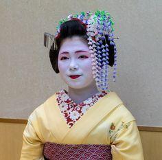 Maiko Toshitomo wearing wisteria kanzashi for the month May.