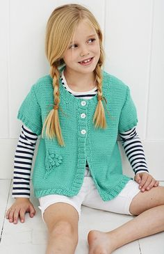 Knitting pattern for Round Necked Cardi sweater for children with flower detail. Long sleeve or short sleeve options. affiliate link