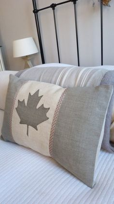 hand printed dove grey Canadian flag cushion cover by helkatdesign, $76.00
