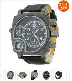 Superfuturystyczny zegarek styl japoński z funkcją kompasu na skórzanym pasku