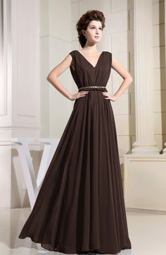 Vintage A-line Sleeveless Chiffon Floor Length Pleated Bridesmaid Dresses