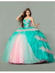 2015 mint with pale pink quinceanera dress ball gown crystal organza puffy new sweet 15 dress 1410(one pices)