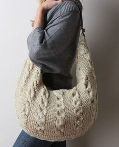 Knit cabled bag - slouchy! @Rachel Thomas, we could make these upcycled out of sweaters!!