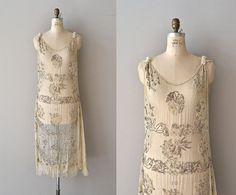 1920s off-white silk dress