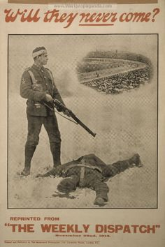 Will they never come?. LOC Summary: Poster showing a wounded soldier with a rifle, standing over a fallen fellow soldier, and turning to a vignette of a rugby game in a stadium | British WW1 Propaganda Poster
