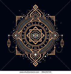 Illustration of mystic golden clock with sacred symbols.