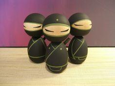 Kokeshi Dolls. Ninja set of 3. Black and olive by temple7e