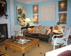 blue wallpaper living room