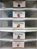 Use it to store the copies and materials ready for the week.