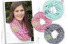 Kidz Closet & More  Our infinity scarves are lightweight and perfect for the season! The monogram adds an extra personalized touch and can be done in any color thread. These make great personalized gifts.Order now for the holidays and avoid the rush! http://www.kidzclosetonline.com/