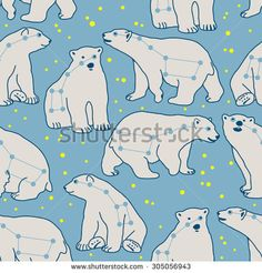 Vector seamless pattern with ursa major and polar bears