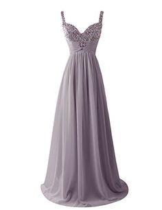 0d61379ef Dresstells Women's Long Straps Chiffon Prom Dress Ruffles Evening Dress  Party Dress with Sequins Grey Size