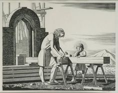 View A Certain Carpenter and Son, circa One A.D After Rockwell Kent; Access more artwork lots and estimated & realized auction prices on MutualArt. Rockwell Kent, First Ad, American Modern, Wood Engraving, New Testament, Christian Art, Carpenter, Modern Art, Religion