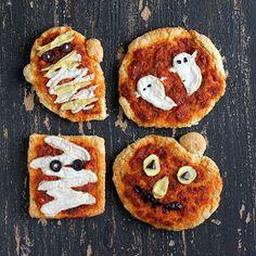 Halloween Pizzas: Ghosts, Pumpkins and Mummies with coconut milk Mozzarella, Cheddar, Sundried Tomato Marinara on Sesame Barley crust. vegan recipe