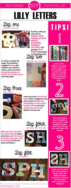How to make Lilly Letters! See link for patterns.Cute website for senior year/college freshman info; gift ideas for little (even though its a year away) Cute Crafts, Diy And Crafts, Arts And Crafts, Room Crafts, Do It Yourself Fashion, Do It Yourself Home, Diy Projects To Try, Craft Projects, Die O