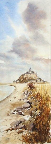 Pascal Benoît Le Mont St Michel, Landscape Paintings, Landscapes, Watercolour Painting, Art Techniques, France, Country Roads, Clouds, Monuments