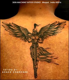 Angel soldiers are often portrayed with wings and a sword. They are fighters who represents all that is good in life and the afterlife and the fight against evil. Angel soldiers fight on behalf of God.  Tattoo done with great details by Akash Chandani @the_inkmann at Skin Machine Tattoo Studio  Hope you guys like this too.. :)... See More