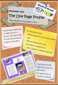One page profile- what should it have in it?
