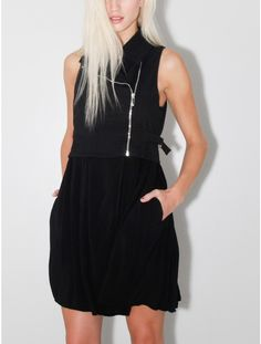 dean moto vest dress black