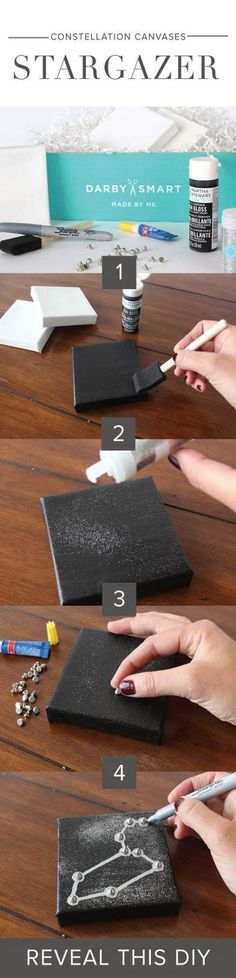 Create a DIY Constellation Canvas. This is perfect DIY idea or room decor idea. You will love this project! Crafts To Do, Crafts For Kids, Arts And Crafts, Organisation D'agenda, Diy Wall Art, Diy Art, Diy Fimo, Craft Projects, Projects To Try