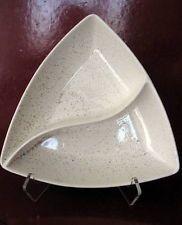 VINTAGE MID-CENTURY MODERN DIVIDED SERVING DISH WHITE RETRO SPATTER BROWN