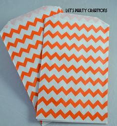 Chevron Favor Bag--(24) ORANGE CHEVRON Favor Bags Orange Chevron bag (5x7): Favor bag, Popcorn bag, Orange Wedding Favors, Carnival Party. via Etsy.