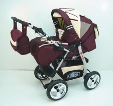 VIP 3 in 1 Baby Pram Stroller Pushchair Travel System + Car Seat Purple / Cream