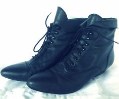 90s Grunge Black Leather Witch boots Ankle by strangemagickvintage, $38.00