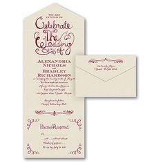Celebrate the Wedding - Seal 'n Send - Ecru Shimmer. Invite your guests to celebrate your special day with you with this fun swirl design invitation.