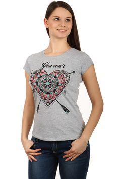 0838a5c6d295 Dámské bavlněné tričko s potiskem srdce a krátkými rukávy