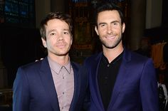 """June 23: Nate Ruess of fun. and Adam Levine of Maroon 5 attend Logo TV's """"Trailblazers"""" at the Cathedral of St. John the Divine in New York City."""
