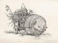 Pequeño Fine Art Print - Sketch Hedgehog - firmado