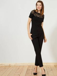 Pantalon droit stretch Femme - noir à 18,00€ - Découvrez nos collections  mode c23978b75a75