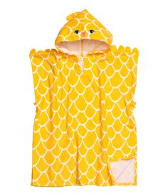 Check this out! Poncho-style towel in soft cotton terry with a printed pattern. Hood with embroidered details. Ties at sides. - Visit hm.com to see more.
