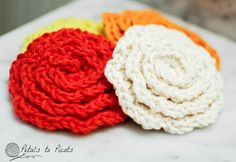 Crochet Flower face scrubbies this would be cute on a head warmer.  Looking forward to football games