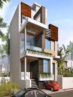 Front Modern House Decorating 2020 Duplex House Design, House Front Design, Modern House Design, House Elevation, Villa Design, Modern House Plans, Home Fashion, Building Design, Exterior Design