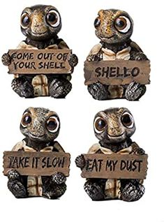 Amazon.com: HOMERRY 4 Pcs Sea Turtle Figurines Collectibles Set of 4 Turtles Statues Holding Signs with Funny Sayings Baby Tortoises Figurines: Toys & Games