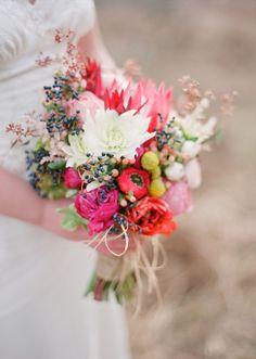 Bright, colorful & rustic bouquet
