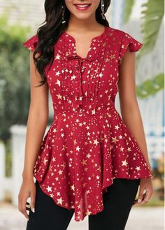 Star Print Lace Up Front Cap Sleeve Blouse Stylish Tops For Girls, Trendy Tops For Women, Blouses For Women, Women's Blouses, Star Clothing, Fashion Outfits, Womens Fashion, Trendy Fashion, Star Print